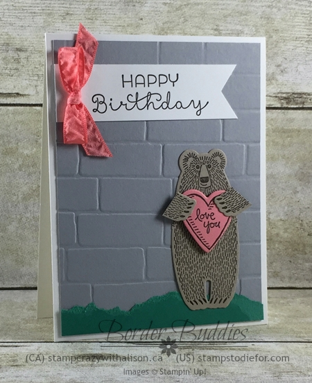 Bear Hugs Stamp Set, Cottage Greetings Stamp Set & Brick Wall Embossing Folder