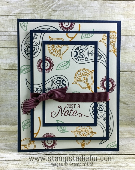 Triple Time stamping technique using Paisleys & Posies stamp set by Stampin' Up! www.stampstodiefor.com 2