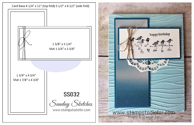 Sunday Sketches SS032 Card Sketch using Stampin Up Products www.stampstodiefor-tile