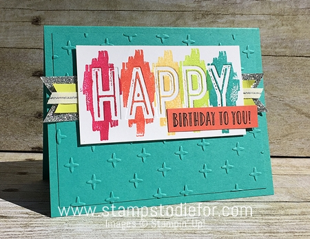Hand Stamped Birthday Card - Happy Celebrations Stamp Set & Celebrations Duo Embossing Folders by Stampin' Up! www.stampstodiefor.com