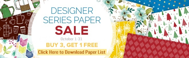 Designer Series Paper Buy 3 get 1 FREE button