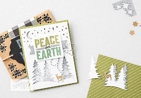 Carols of Christmas stamp set by Stampin' Up! pine trees and deer stamps and cutout