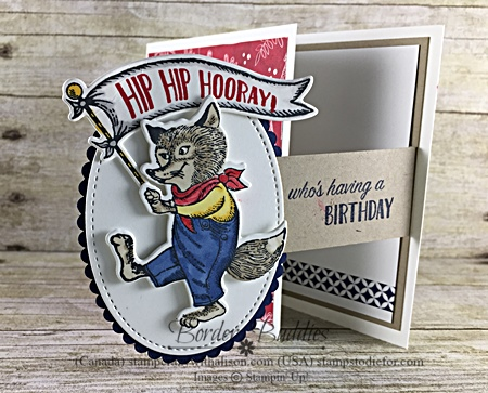 December Border Buddies PDF Card Free Tutorial - Fun Fold Flap Card Birthday Delivery Stamp Set by Stampin' Up! www.stampstodiefor.com Top Ten Card for Diva and Dude Stampers fox
