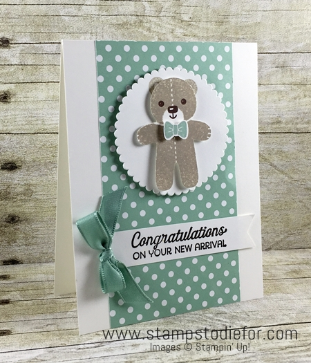 Cookie Cutter Christmas Stamp Set Baby Card - Teddy Bear - Stampin' Up!