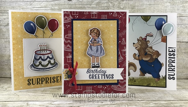 Birthday Memories Suite - Birthday Friends Paper by Stampin' Up! three cards