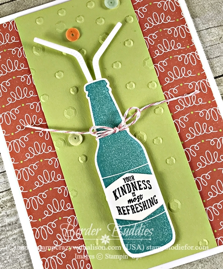 Hand made card using Bubble Over Stamp Set & Bottles & Bubbles Framlits Dies by Stampin Up Card 4a