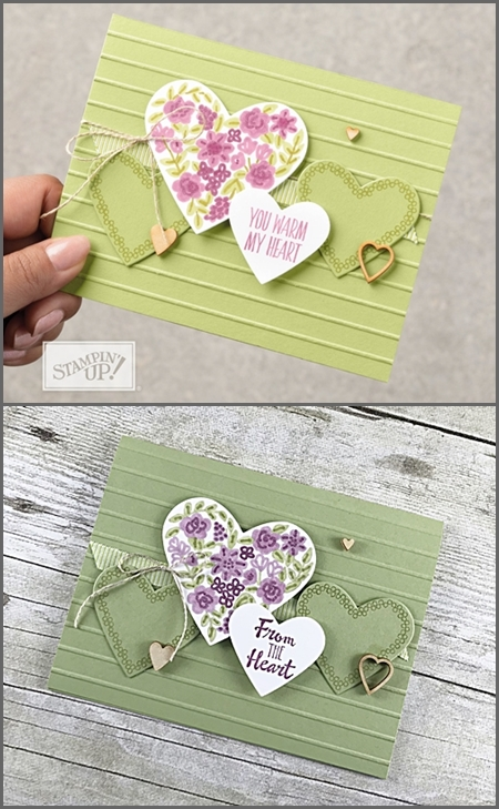 CASE handmade card using the Heart Happiness stamp set by Stampin Up vert