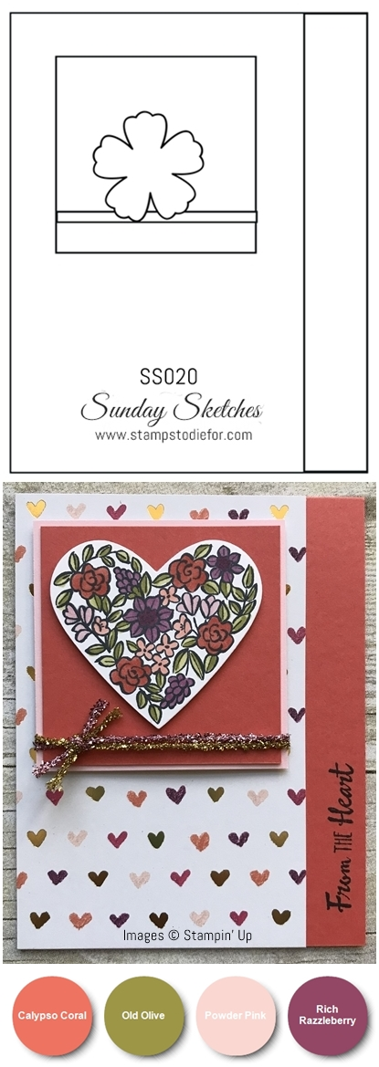 Hand made Valentine card using Heart Happiness stamp set by Stampin Up vert-vert