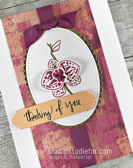 Hand stamped card thinking of you using Climbing Orchid stamp set by Stampin Up 22
