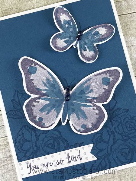 Hand stamped card using the petal pallet & watercolor wings stamp sets by Stampin' Up 2
