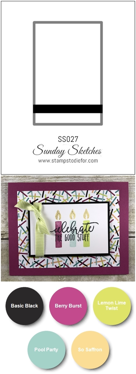 SS027 handstamped birthday card using Picture Perfect Birthday stamp set by Stampin Up vert