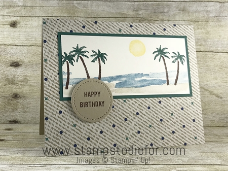 SS028 hand stamped birthday card for men using the Waterfront stamp set by Stampin Up (masculine card) front