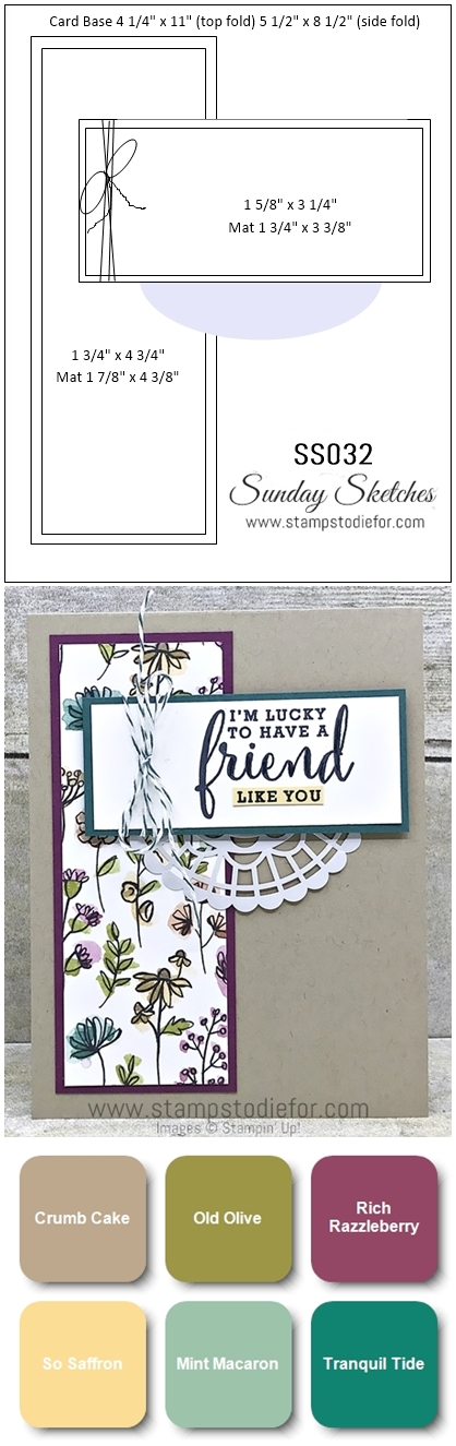 Sunday Sketches SS032 Love What You Do stamp set by Stampin Up  Friend card  card Sketch verticle
