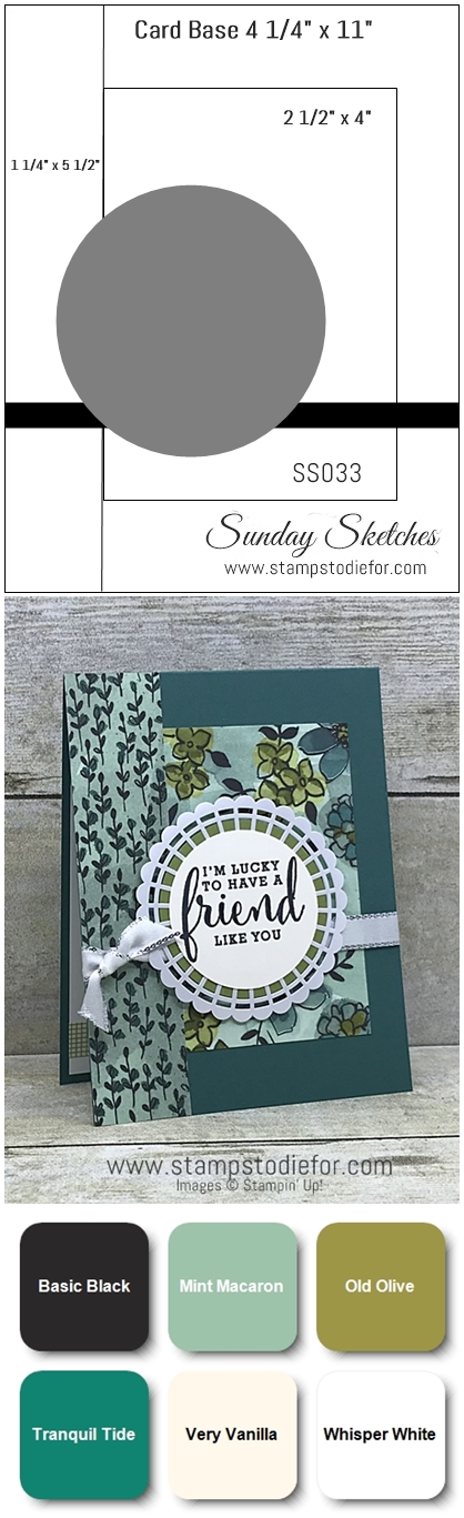 Sunday Sketches SS033 Card Sketch Friend card using Share What You Love Suite Products by Stampin Up vert