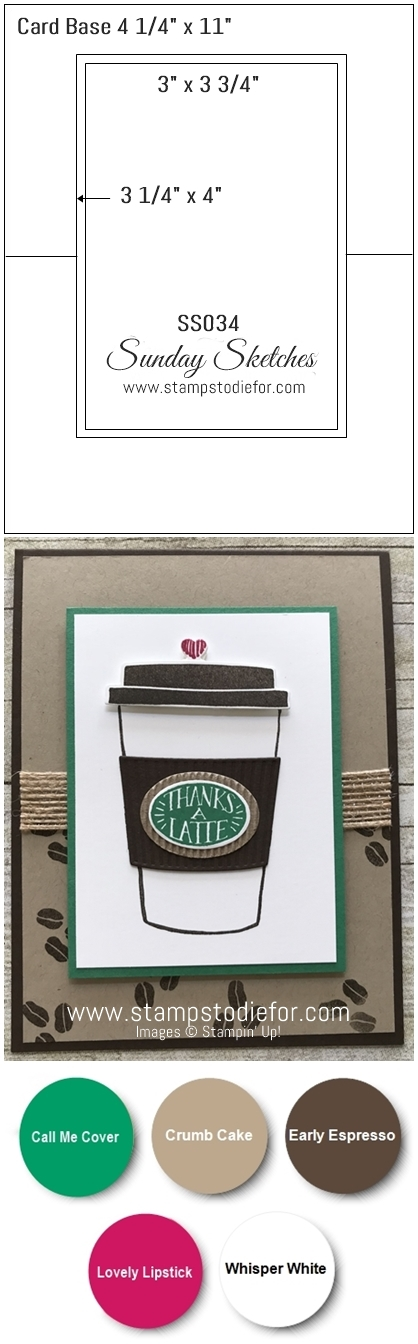 Sunday Sketches SS034 Coffee Cafe stamp set and coffee cup framelits by Stampin Up! www.stampstodiefor.com