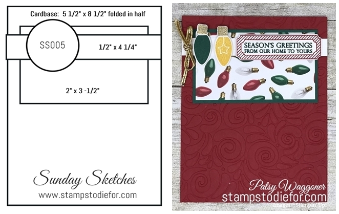 Sunday Sketches SS005 All is Bright Stamp Set by Stampin Up! card sketch template  www.stampstodiefor.com paired