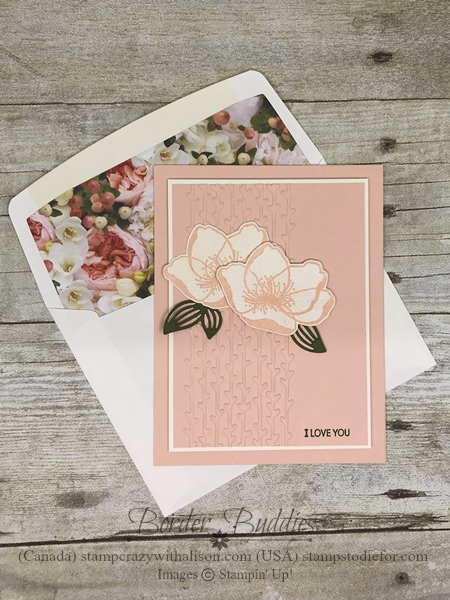 Border Buddy's Free PDF Tutorial Petal Promenade Suite by Stampin' Up! Card 1 envelope a