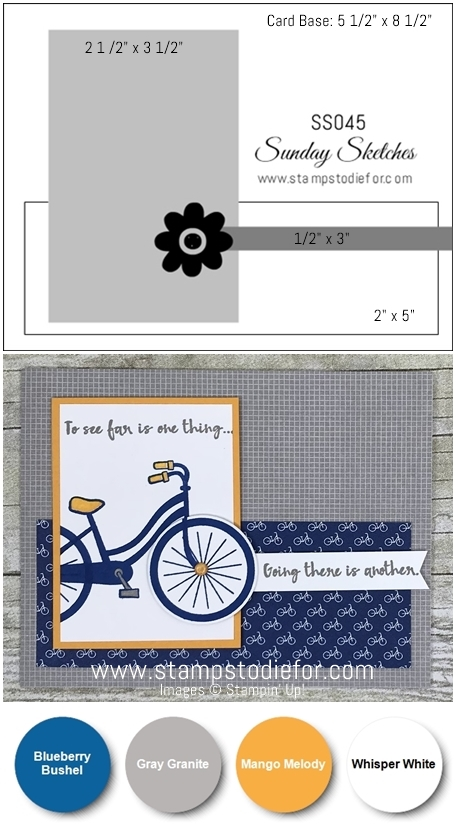 Sunday Sketches SS045 card sketch or template using Bike Ride stamp set and framelits by Stampin' Up! www.stampstodiefor.com vert