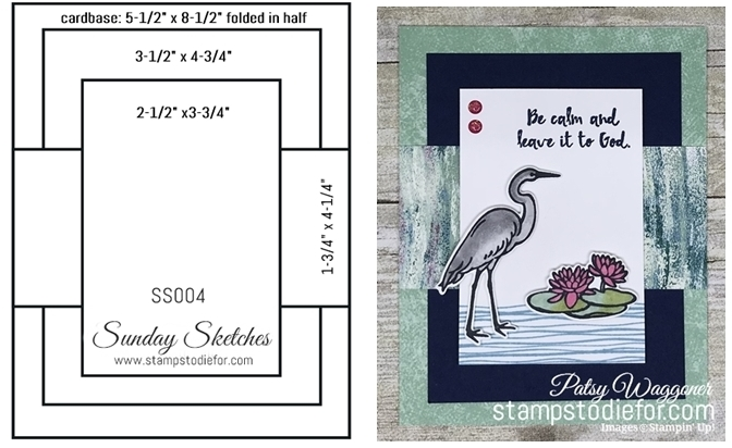 Sunday Sketches SS004 Lilypad Lake stamp set by Stampin' Up! card sketch  card template www.stampstodiefor.com Portrait