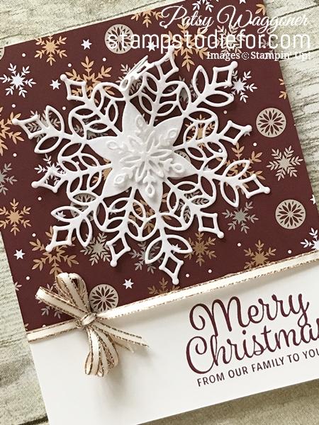 Snowflake Snowflake Trinket Dies by Stampin' Up! Merry Christmas Card Merry Merlot  tilt www.stampstodiefor.com