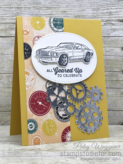 Card created using piece A One Sheet Wonder Classic Gear Designer Paper by Stampin' Up!  #loveitchopit #simplestamping slant (2)