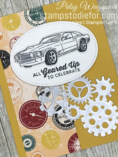 Card created using piece A One Sheet Wonder Classic Gear Designer Paper by Stampin' Up!  #loveitchopit #simplestamping slant