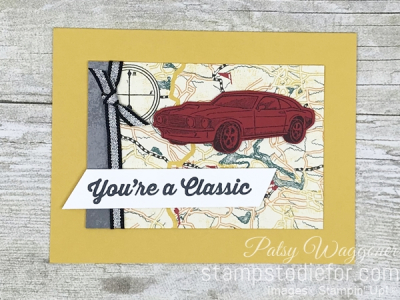 Card created using piece E One Sheet Wonder Classic Gear Designer Paper by Stampin' Up! #loveitchopit #simplestamping straight