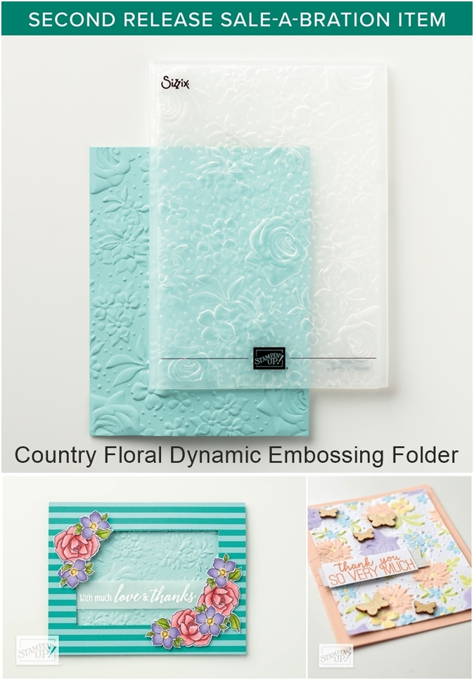 Country Floral Dynamic Embossing Folder by Stampin Up FREE Sale-a-bration item 2019-vert