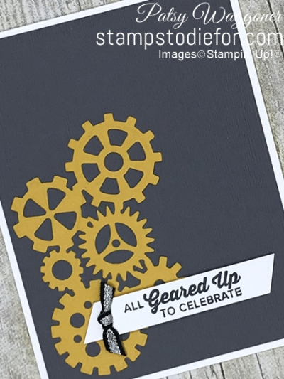 Card from our Border Buddy Free PDF Tutorial using the Garage Classic Suite #stampinup #gears slant