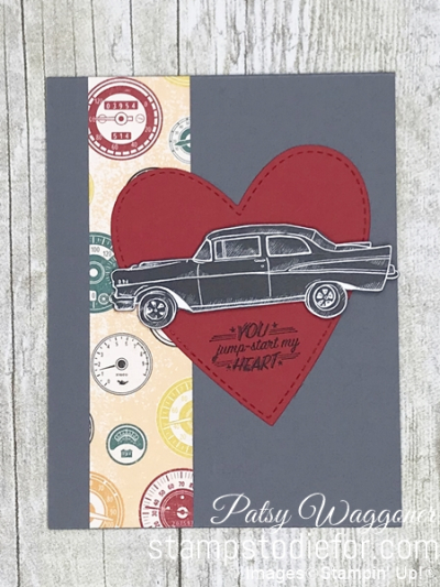 Card created using piece D One Sheet Wonder Classic Gear Designer Paper by Stampin' Up!  #loveitchopit #simplestamping straight