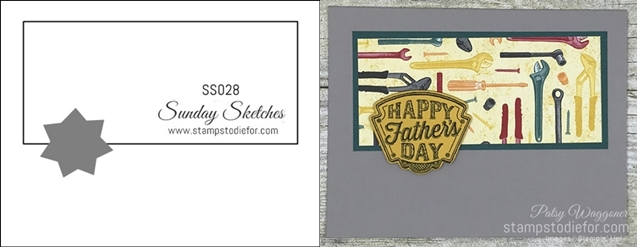 Card stamped using Sunday Sketches SS028 Classic Garage Suite of Products #stampinup #cardsketch #SS028 #simplestamping