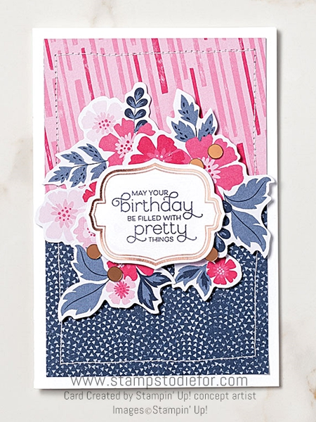 Birthday pretty card everything is rosy by stampin up