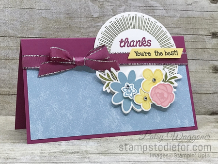 Card stamped using Sunday Sketches SS031 Bouquet Blooms Set #stampinup #funfold 2 (2)