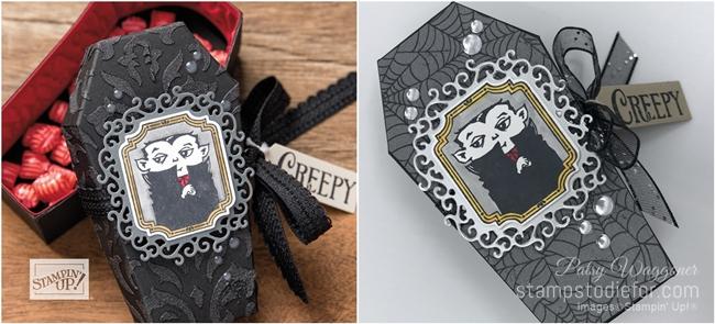 CASE  3D Halloween coffin treat box using Spooktacular Bash stamp set-tile