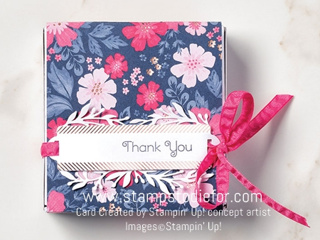 Gift box everything is rosy by stampin up