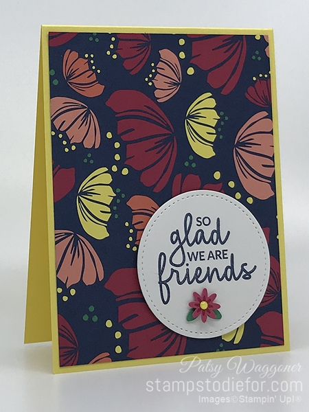 Quick and Easy Card made with One Sheet Wonder Piece A Happiness Blooms Designer Paper by Stampin Up #loveitchopit #simplestamping