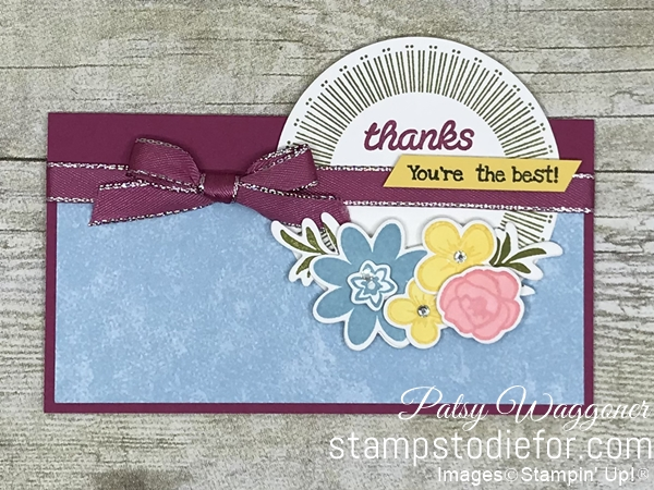 Card stamped using Sunday Sketches SS031 Bouquet Blooms Set #stampinup #funfold