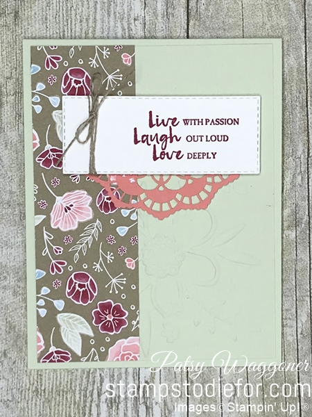 Card stamped using Sunday Sketches SS032 and Beautiful You Stamp Set  All My Love Paper #stampinup #SS032