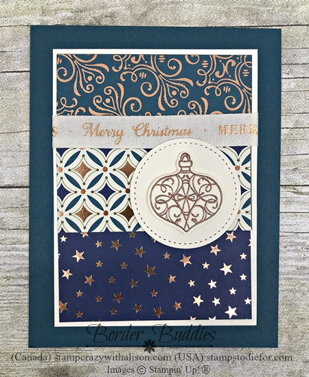 Christmas cards stamped with Christmas Gleaming Stamp Set by Stampin' Up! in Pretty Peacock Slant