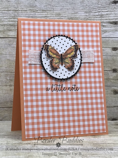 Card from Border Buddy PDF Tutorial you can earn FREE with an order at my online store #ginghamgala #botanicalbutteflypaper first bb