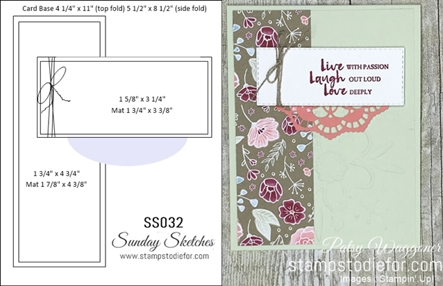 Card stamped using Sunday Sketches SS032 and Beautiful You Stamp Set  All My Love Paper #stampinup #SS032 horz