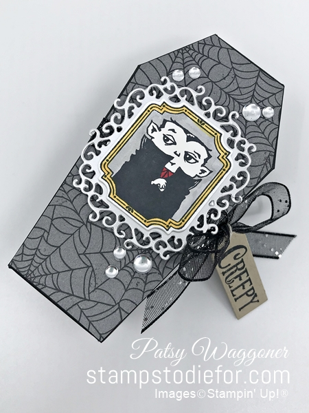 CASE  3D Halloween coffin treat box using Spooktacular Bash stamp set