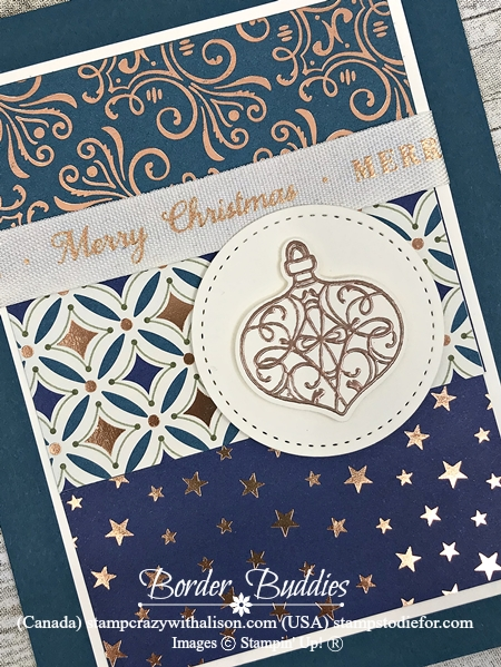 Christmas cards stamped with Christmas Gleaming Stamp Set by Stampin' Up! in Pretty Peacock Slant s