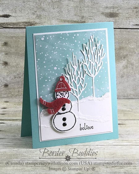 Snowman Seasons Stamp Set by Stampin Up Card 1 wood