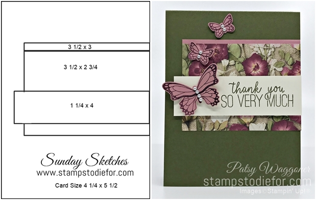 Sunday Sketches Card Sketch using Butterfly Gala & Punch by Stampin' Up! 5-3-2020 horz