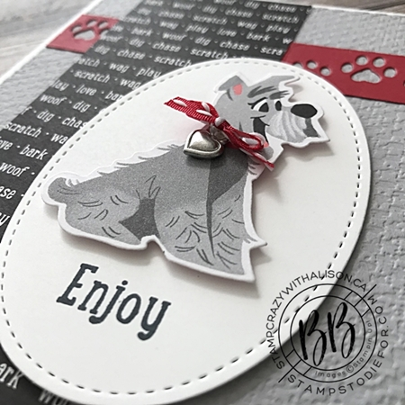 July 2020 Border Buddy PDF Tutorial Playful Pets by Stampin' Up! card 1 close up