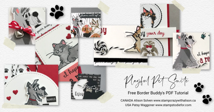 Border Buddies Free PDF Tutorial featuring Playful Pets Suite by Stampin' Up!® paw prints