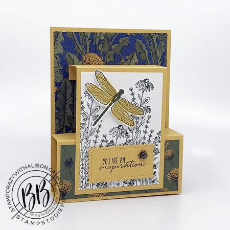 Fun fold card created with Dragon Fly Garden Stamp Set by Stampin Up Misty Moonlight and Bumblebee