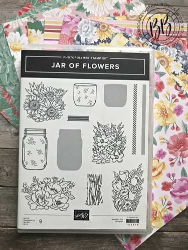 Jar of Flower stamp set and Flower for Every Season paper by Stampin' Up!