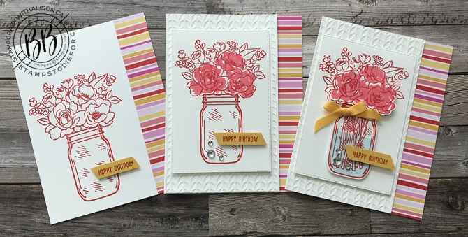 Jar of Flowers by Stampin' Up! step up cards